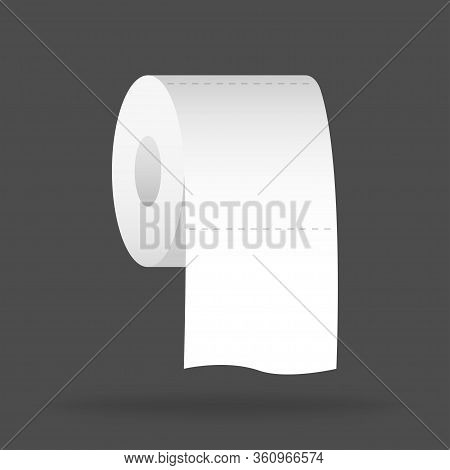 Toilet Paper. Wc Isolated Sheet. Restroom Object. Reslistic Icon For Washroom. Hygiene Roll To Wipe.