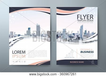 Flyer Design, City Landscape Image. Leaflet Cover Presentation, Book Cover Template Vector, Layout I