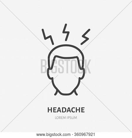 Headache Line Icon, Vector Pictogram Of Person With Migraine. Man Having Hangover Illustration, Flu