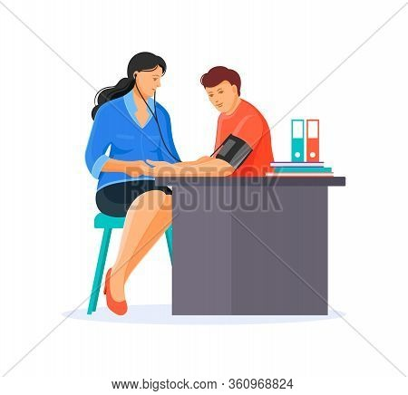 Doctor Measures Blood Pressure By Of Patient, With Tonometer Monitor.