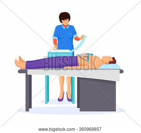 Doctor Cardiologist Performs An Electrocardiogram Of Heart In Cardiology Office.