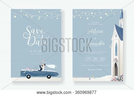 Set Of Wedding Cards, Invitation, Save The Date Template. Newlywed Couple Is Driving A Convertible,