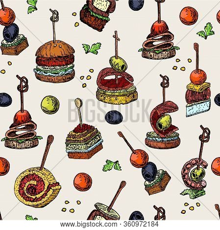 Finger Food Vector Seamless Pattern. Food Appetizer And Snack Sketch. Color Vector Illustration. Can