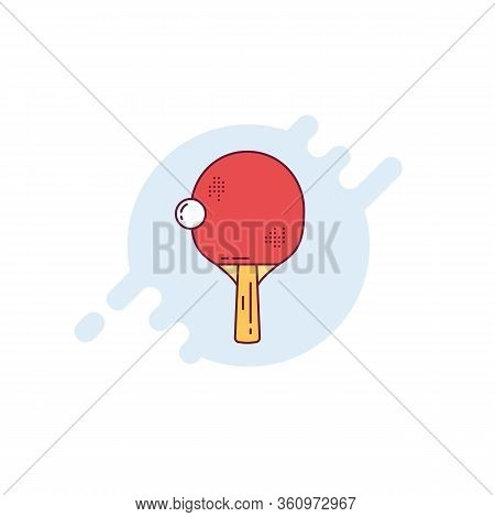Ping Pong Racket And Ball. Table Tennis Red Racket. Sports Equipment Line Style Vector Illustration.