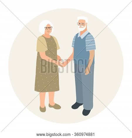 Happy Grandparents Character Design. Fashionable Older Man And Older Woman Together. Elderly Couple