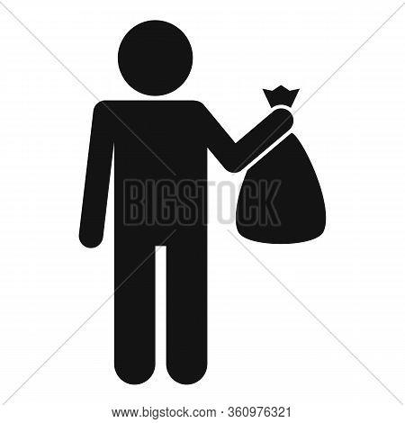 Man Take Garbage Bag Icon. Simple Illustration Of Man Take Garbage Bag Vector Icon For Web Design Is