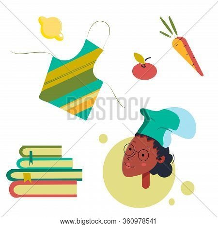 Set Of Cooking Blog.avatar With A Black Girl In Glasses And A Cook Hat, Cookbooks, An Apron And Frui