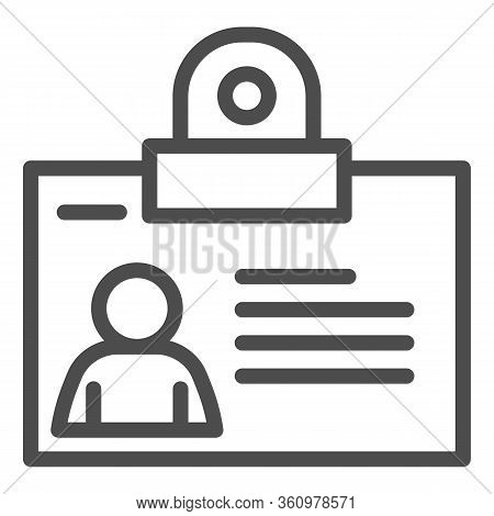 Personal Badge Line Icon. Id Card With Photo For Object Pass Outline Style Pictogram On White Backgr