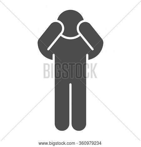 Worrying Pose Solid Icon. Man Pose With Raised Hands On Face Glyph Style Pictogram On White Backgrou