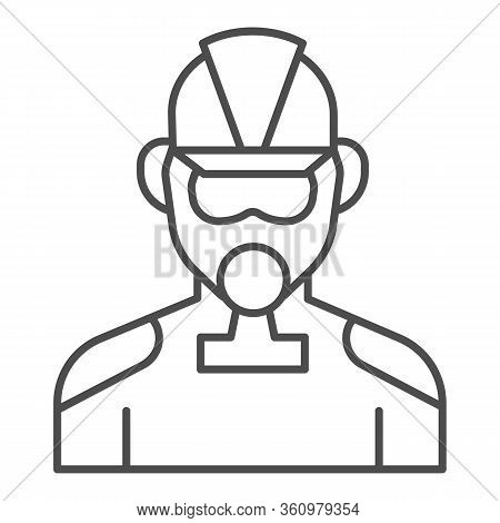 Firefighter Thin Line Icon. Fireman With Respirator Outline Style Pictogram On White Background. Man