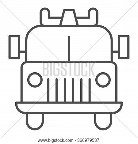 Firefighting Vehicle Thin Line Icon. Emergency Service Fire Truck Outline Style Pictogram On White B