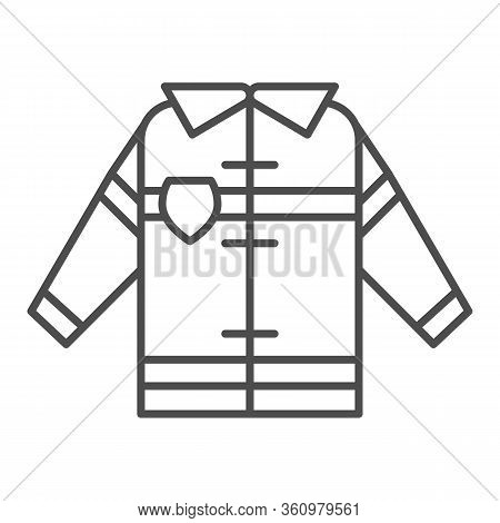 Fireman Uniform Thin Line Icon. Fireproof Suit Outline Style Pictogram On White Background. Fire Jac