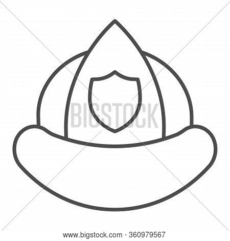 Firefighters Helmet Thin Line Icon. Fireman Protection Hat With A Shield Emblem Outline Style Pictog