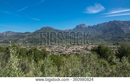 Soller Majorca Aerial View From The Mountains, Mallorca Island, Balearic Islands, Spain Landscape