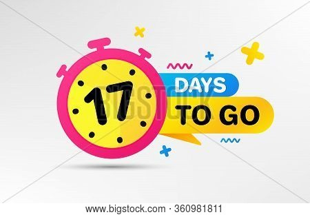 Seventeen Days Left Icon. Countdown Left Days Banner With Timer. 17 Days To Go Sign. Sale Announceme