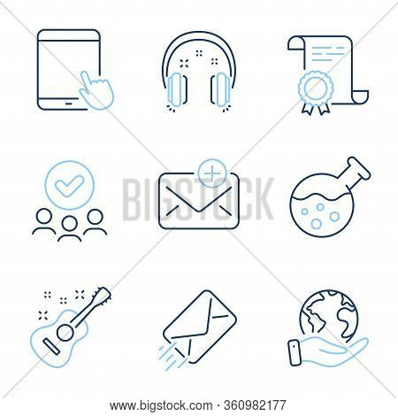 New Mail, Guitar And E-mail Line Icons Set. Diploma Certificate, Save Planet, Group Of People. Headp