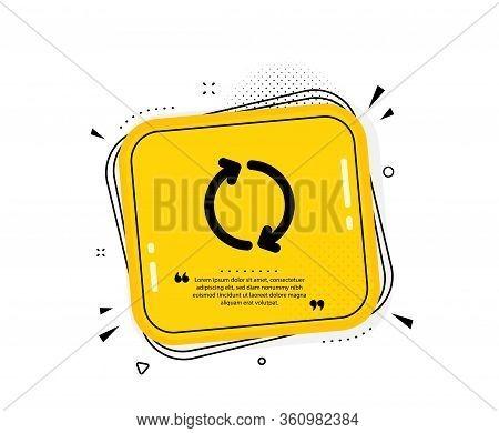 Refresh Arrow Icon. Quote Speech Bubble. Rotation Arrowhead Symbol. Navigation Pointer Sign. Quotati