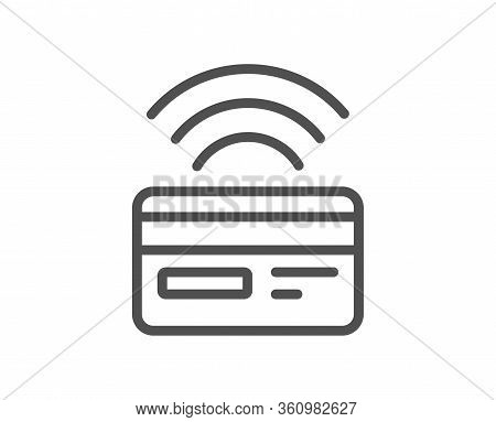 Contactless Payment Line Icon. Credit Card Sign. Cashless Purchases Symbol. Quality Design Element.