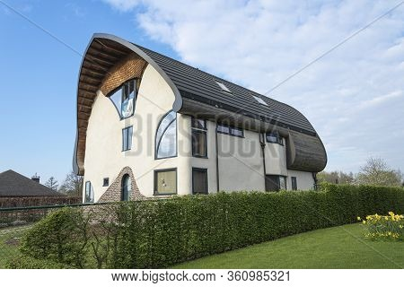 Sint Gillis Waas, Belgium, April 09, 2020, Ecological House, Also Known As Green House Very Energy E