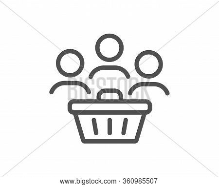 Buyers With Shopping Cart Line Icon. Customers Group Sign. Supermarket Clients Symbol. Quality Desig