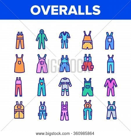 Overalls Worker Protect Clothes Icons Set Vector. Human Protection Overalls, Safety And Protective B