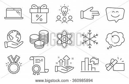 Set Of Business Icons, Such As Smile Face, Click Hand. Diploma, Ideas, Save Planet. Decreasing Graph