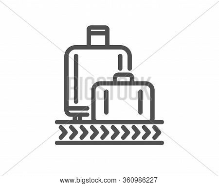 Airport Baggage Reclaim Line Icon. Airplane Luggage Lane Sign. Flight Checked Bag Symbol. Quality De