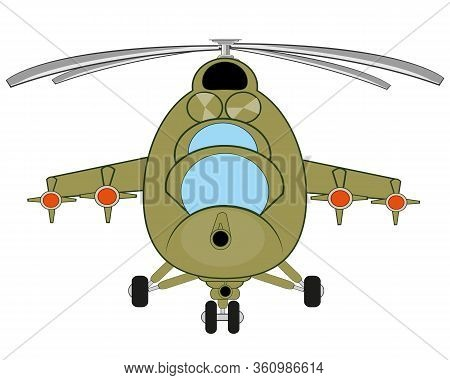 Vector Illustration Of The Military Helicopter With Weapon Type Frontal