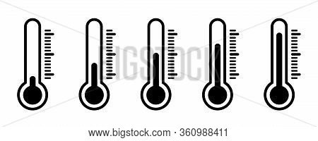 Thermometer Temperature Icons. Vector Isolated Icons. Thermometer Vector Isolated Weather Scale Illu