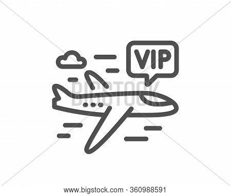 Vip Flight Line Icon. Very Important Person Airplane Sign. Charter Plane Symbol. Quality Design Elem