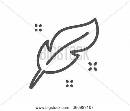 Feather Quill Pen Line Icon. Calligraphy Nib Sign. Lightweight Symbol. Quality Design Element. Edita