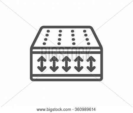 Mattress Line Icon. Orthopedic Flexible Pad Sign. Breathable Sleep Bed Symbol. Quality Design Elemen