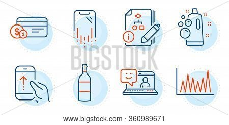 Payment Method, Algorithm And Smile Signs. Clean Bubbles, Wine Bottle And Swipe Up Line Icons Set. L