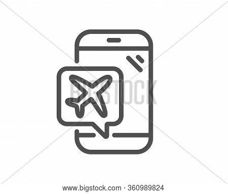 Flight Mode Line Icon. Airplane Mode Sign. Turn Device Offline Symbol. Quality Design Element. Edita