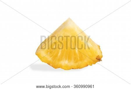 Pineapples Fruit Sliced Isolated On The White Background. Slice The Ananas Into Triangle.