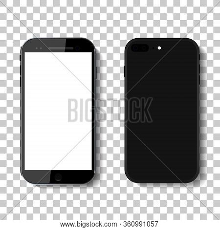 3d Phone Mock Up Isolated On Transparent Background.black Smartphone Mock Up In Modern Style.device