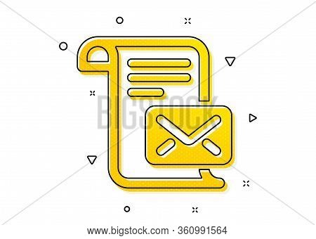 Read Message Correspondence Sign. Mail Letter Icon. E-mail Symbol. Yellow Circles Pattern. Classic M