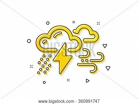 Bad Weather Sign. Clouds With Raindrops, Lightning, Wind Icon. Yellow Circles Pattern. Classic Bad W