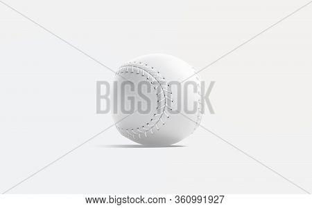 Blank White Baseball Ball With Seam Mock Up, Gray Background, 3d Rendering. Empty Base-ball Hardball