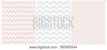 Simple Bright Chevron Seamless Vector Patterns. 3 Various Chevron Print. White Zig Zags Isolated On