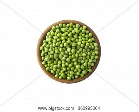 Green Peas On Bowl Isolated On A White Background. Vegetables With Copy Space For Text. Green Peas I
