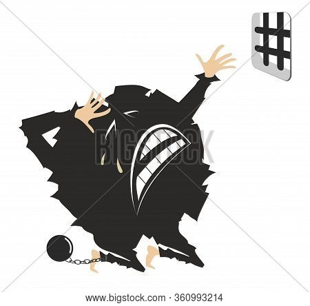 Cartoon Crying Virus In A Jail Prays In The Kneel Illustration. Crying Chained Virus Behind Bars Pra