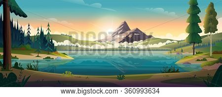 Clear Turquoise Mountain Lake View. Rocky Mountains On The River Bank. Dawn Or Sunset In The Mountai