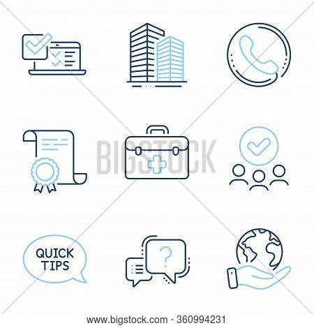 Online Survey, First Aid And Quickstart Guide Line Icons Set. Diploma Certificate, Save Planet, Grou