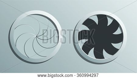 A Vector Illustration Of A Futuristic Round Mechanical Portal With A Sphincter Type Mechanism Open A