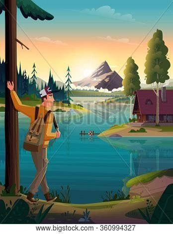 Traveler Looking At The Mountain Lake And Hut On Coast. Landscape Of Discovery, Hiking, Adventure An