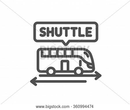 Shuttle Bus Line Icon. Airport Transport Sign. Transfer Service Symbol. Quality Design Element. Edit