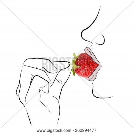 Silhouette Of Young Woman Eating Strawberry. Illustration Of A Young Woman Enjoying A Strawberry. Si