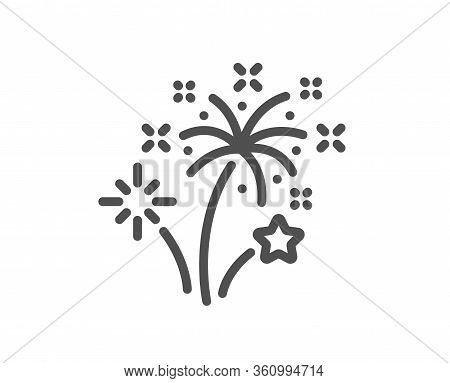 Fireworks Line Icon. Pyrotechnic Salute Sign. Carnival Celebration Lights Symbol. Quality Design Ele