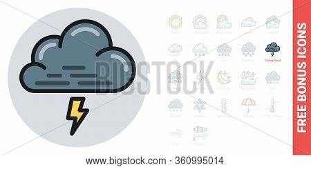 Thundercloud, Storm Cloud Or Thunderstorm Icon For Weather Forecast Application Or Widget. Cloud Wit